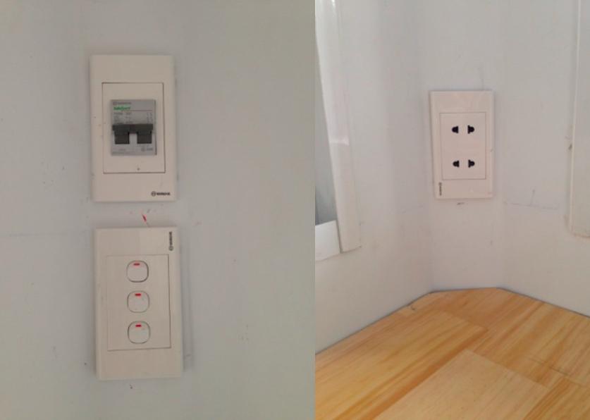 Hệ thống điện âm tường ( atomat tổng, công tắc chờ điều hoà, ổ cắm đôi)