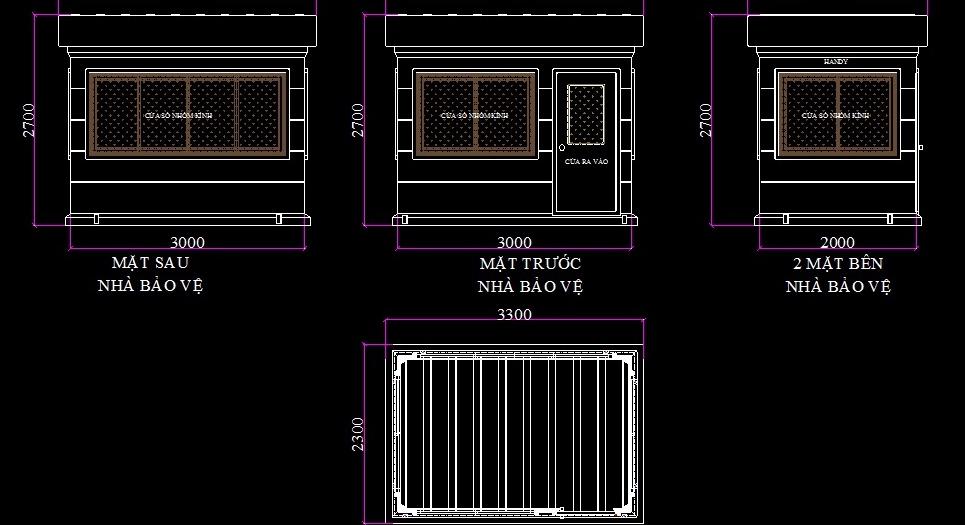 Mẫu thiết kế nhà bảo vệ mái hộp có kích thước lớn
